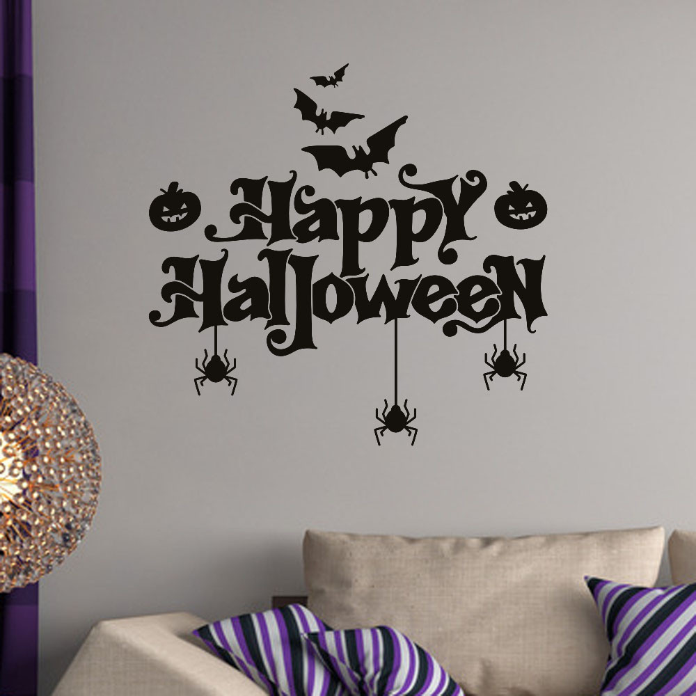Happy Halloween Bats Spider Wall Sticker Window Home Decoration Black
