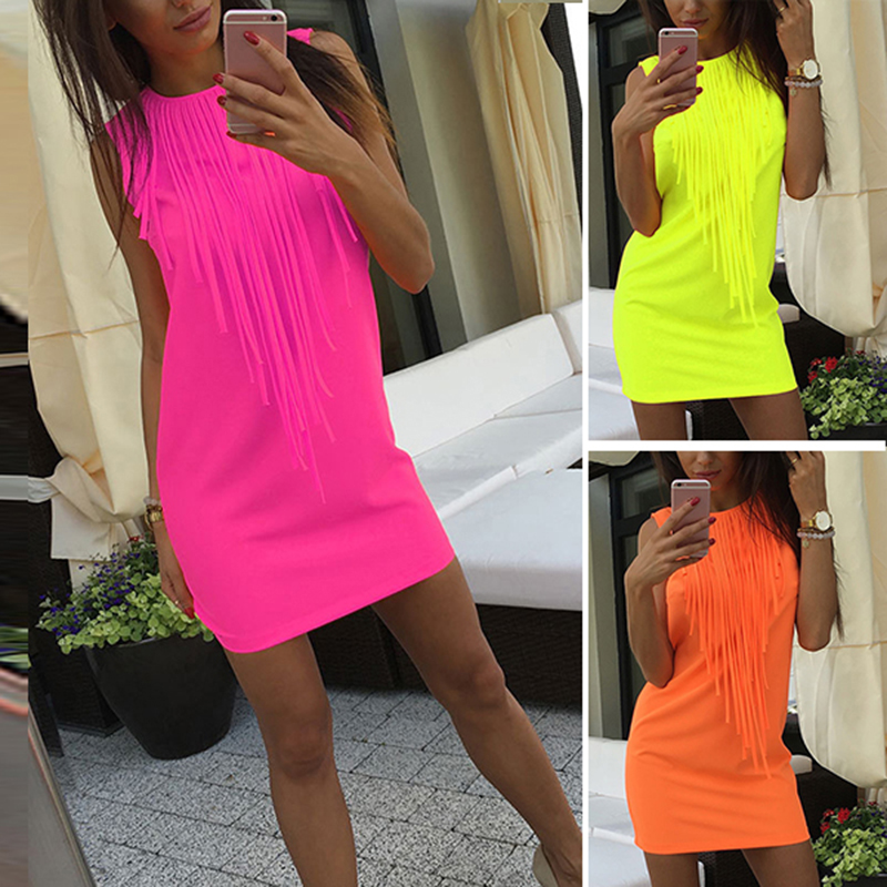 Women s Sexy Pure Color Tassel Dress- 3 Colors