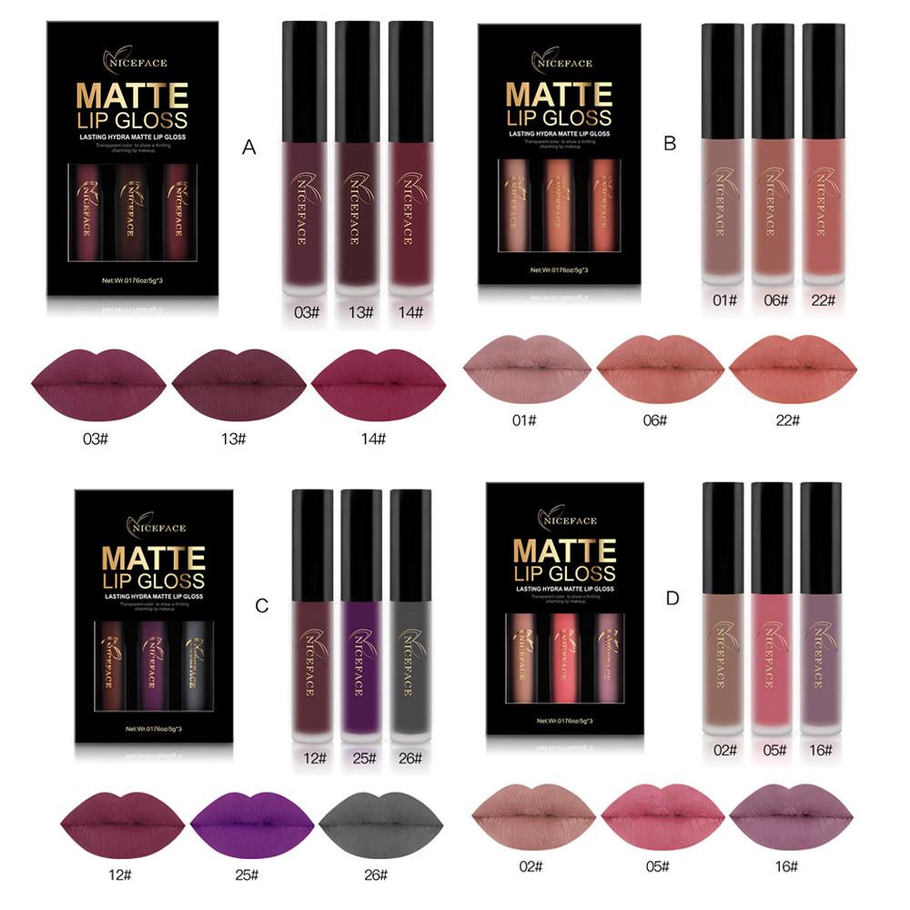 3-Piece Fashion Waterproof Matte Liquid Lipstick Gloss Kit