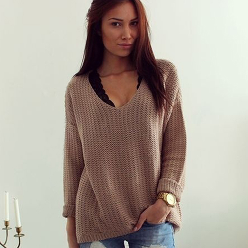 V Neck Long Sleeve Knit Sweater 9221002