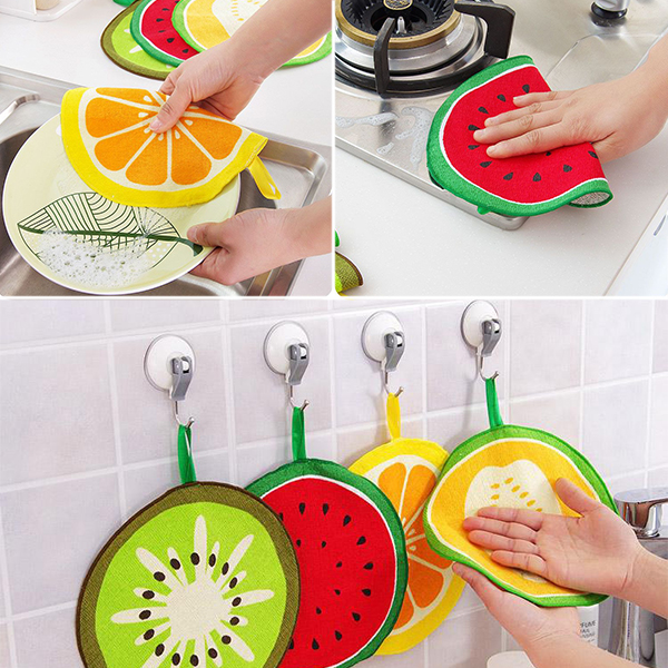 Cartoon Fruit Print Hanging Towels
