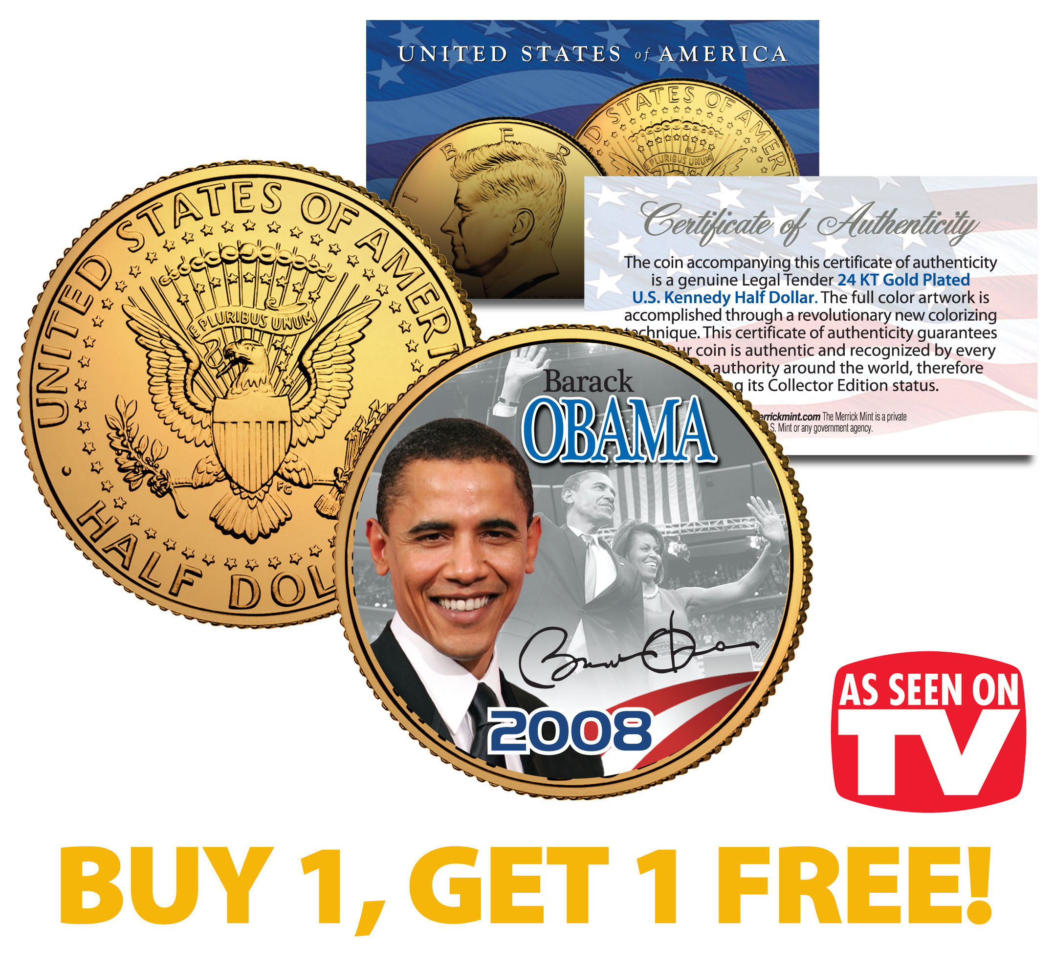 barack obama 2008 jfk half dollar coin as seen on tv buy 1 get 1 tanga. Black Bedroom Furniture Sets. Home Design Ideas