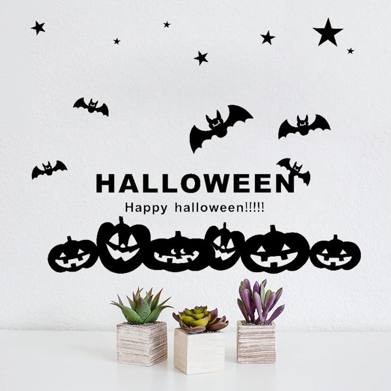 New Halloween Witch Bats Wall Sticker Window Home Decoration Decal Dec