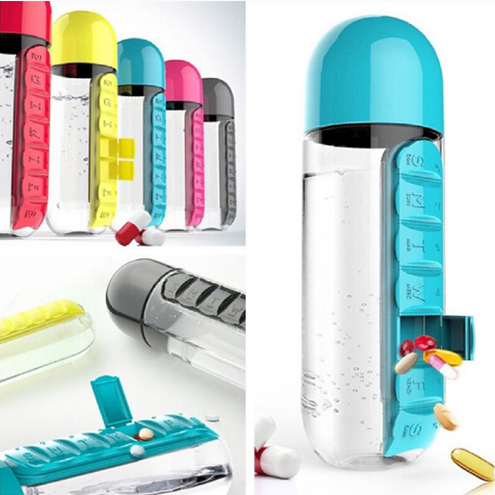 600ml Sport Water Bottle With Built-in Daily 7 Daily Pill Vitamin Box