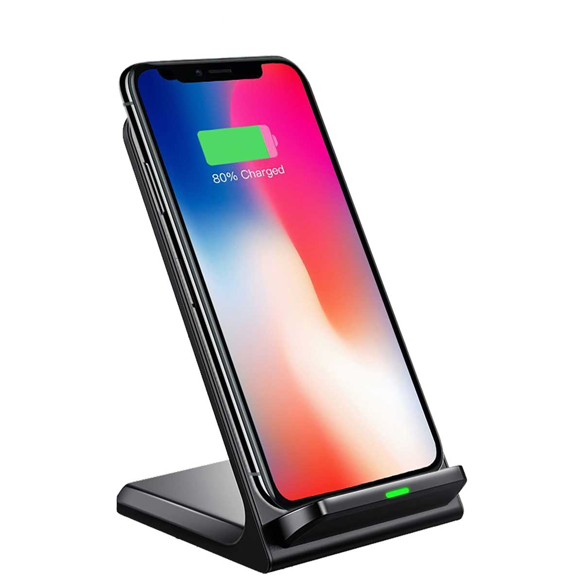 qi wireless charger desktop stand for iphone x 8 8. Black Bedroom Furniture Sets. Home Design Ideas