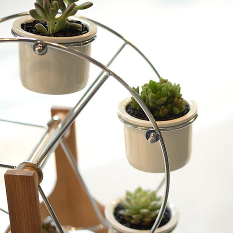 Ferris wheel shelf with 6 ceramic flower pots bellechic for 6 ceramic flower pots