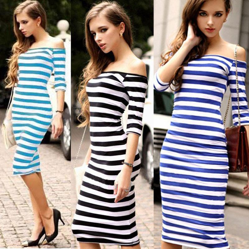Fashion Women Stripe Strapless Half Sleeve Evening Party Dress