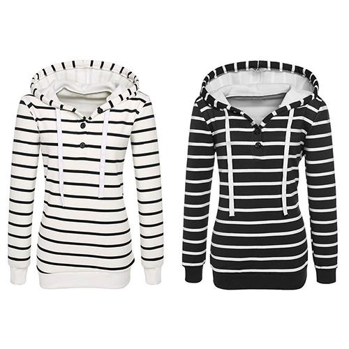 Striped Long Sleeve Sport Slim Top Hoodie 8327042
