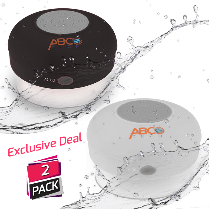 2-Pack Abco Tech Water Resistant Wireless Bluetooth Shower Speaker 51e651676f6c