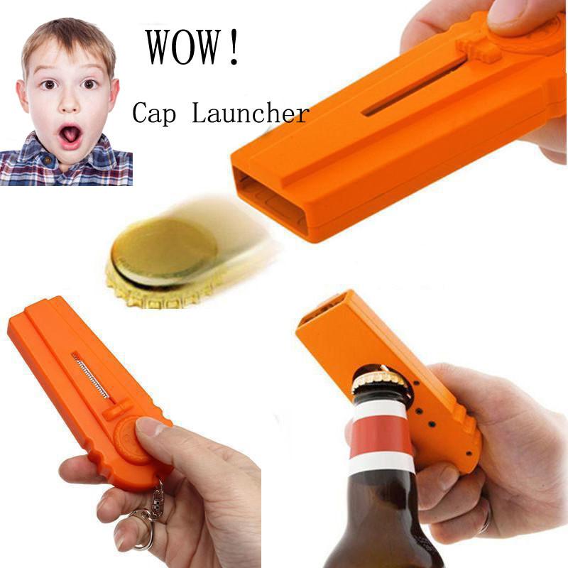Flying Zappa Beer Drink Bottle Opener Cap Launcher Top Shooter Key Rin