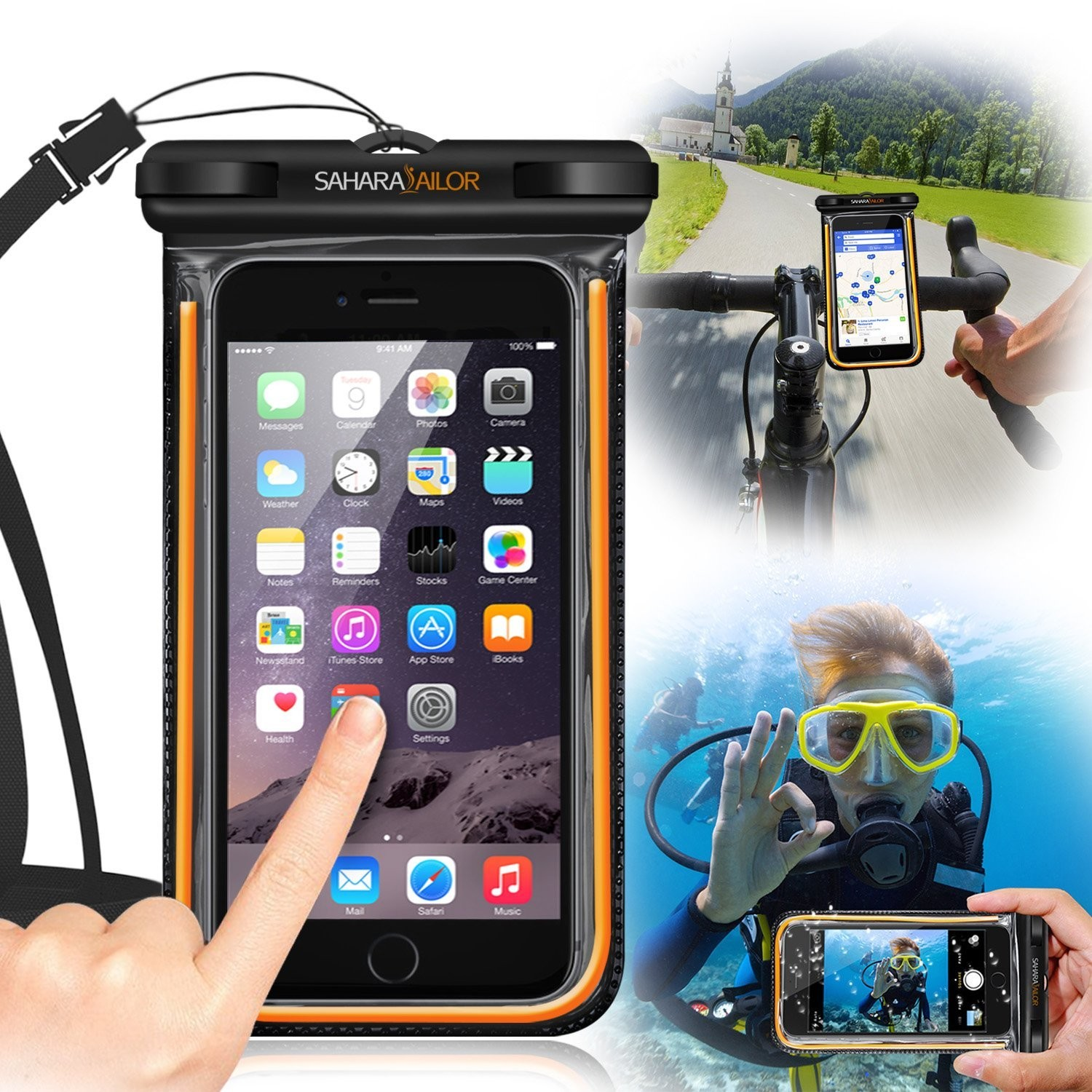 Waterproof Transparent Phone Case w  Removable Bike Mount and Carabine