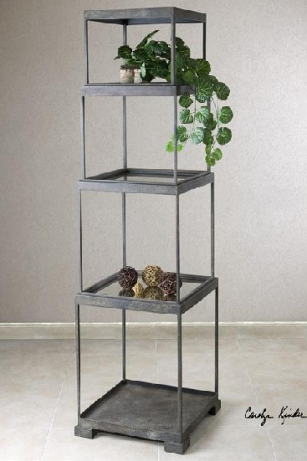 71 distressed bronze metal stacked cubes decorative etagere display shelf tanga. Black Bedroom Furniture Sets. Home Design Ideas