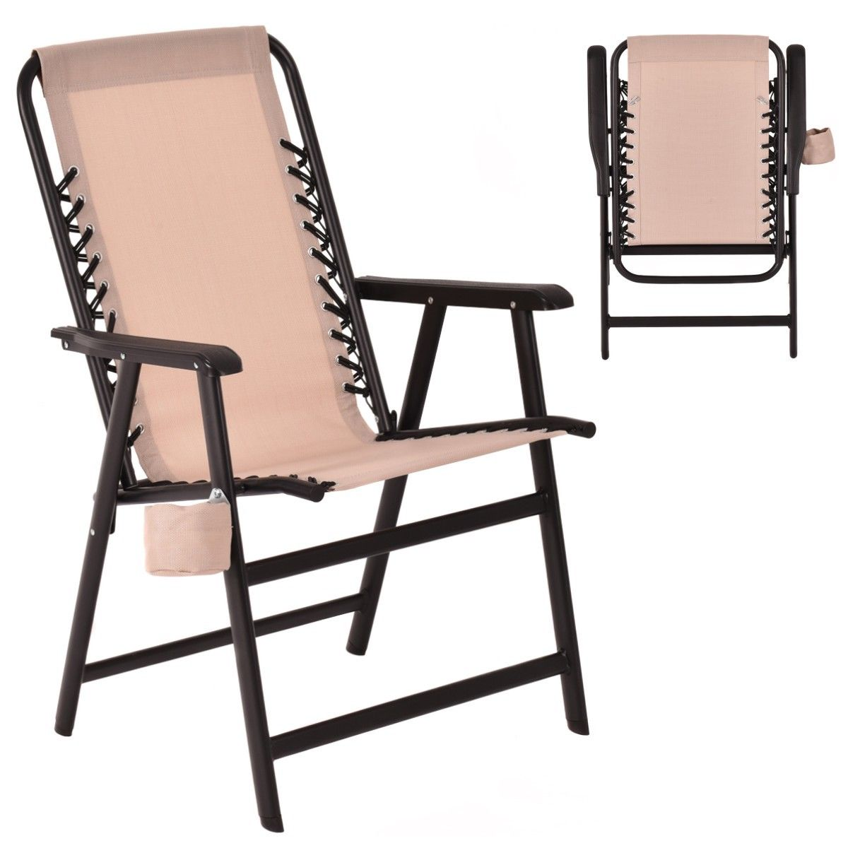 Folding Steel Frame Outddoor Arm Chair W  Cup Holder 7826248