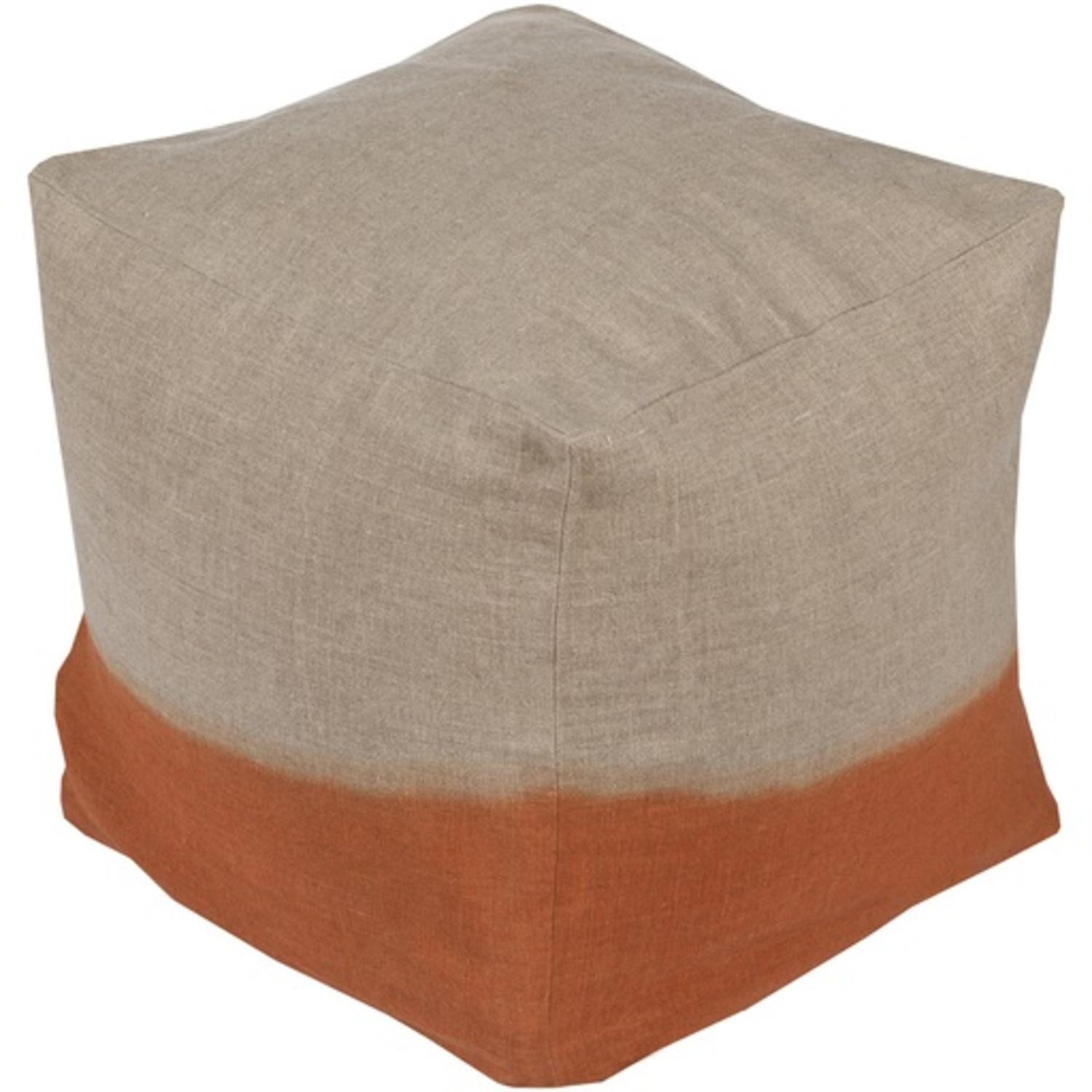 """Vevey Burnt Tones Only: 18"""" Beige And Burnt Orange Two-Tone Print Square Wool Pouf"""