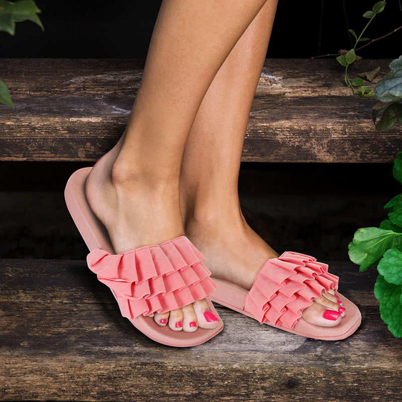 Women s Chatties Ruffle Slip on Sandals