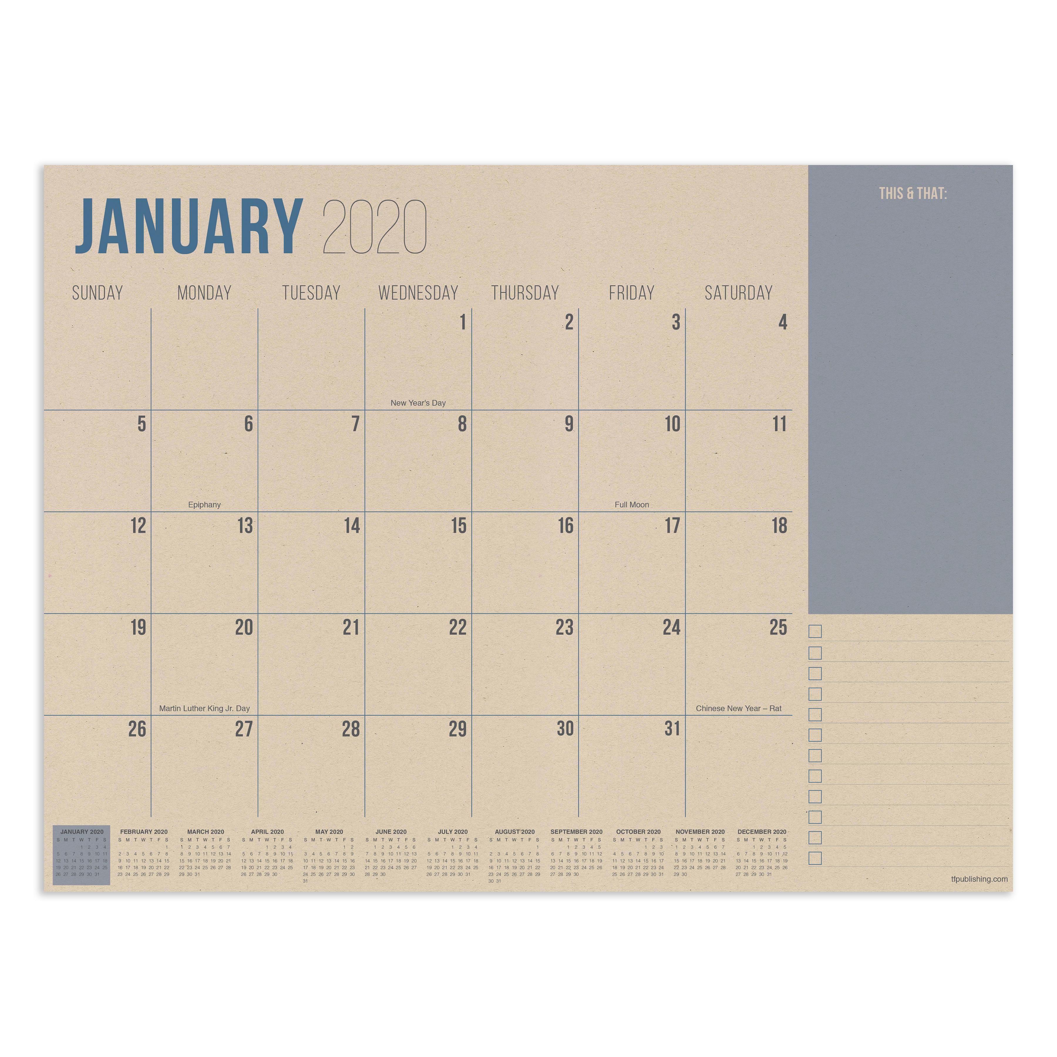 July 2019 - June 2020 Kraft Mini Desk Pad Calendar