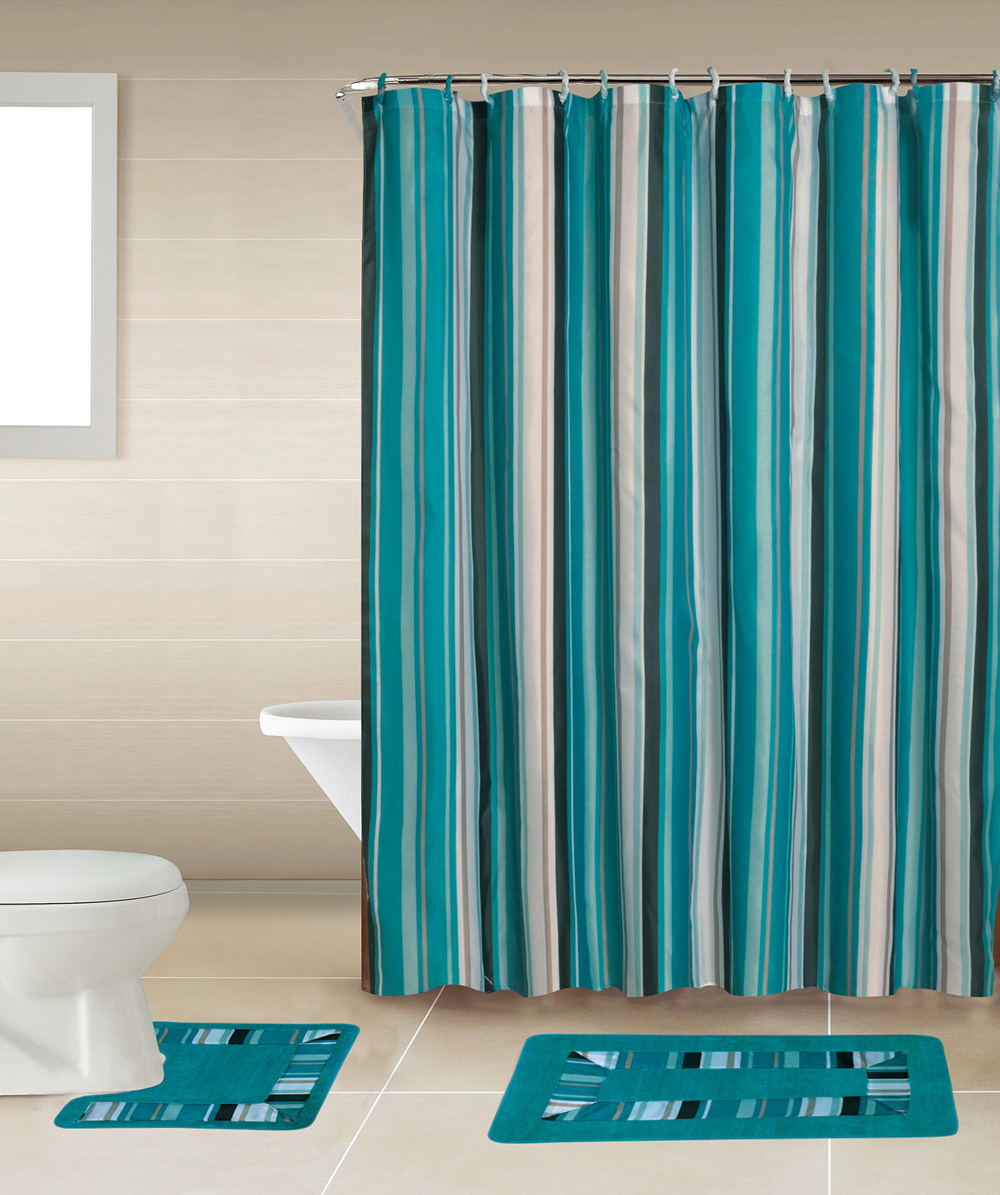 Blue lines stripes 15 pcs modern shower curtain with hooks Shower curtain complete bathroom set