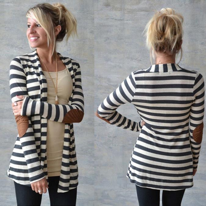 Women s Long Sleeve Striped Cardigan
