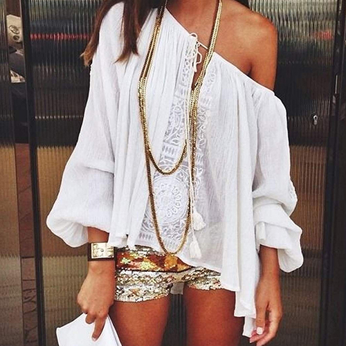 Women Sexy Off Shoulder Long Sleeve Casual Loose Blouse