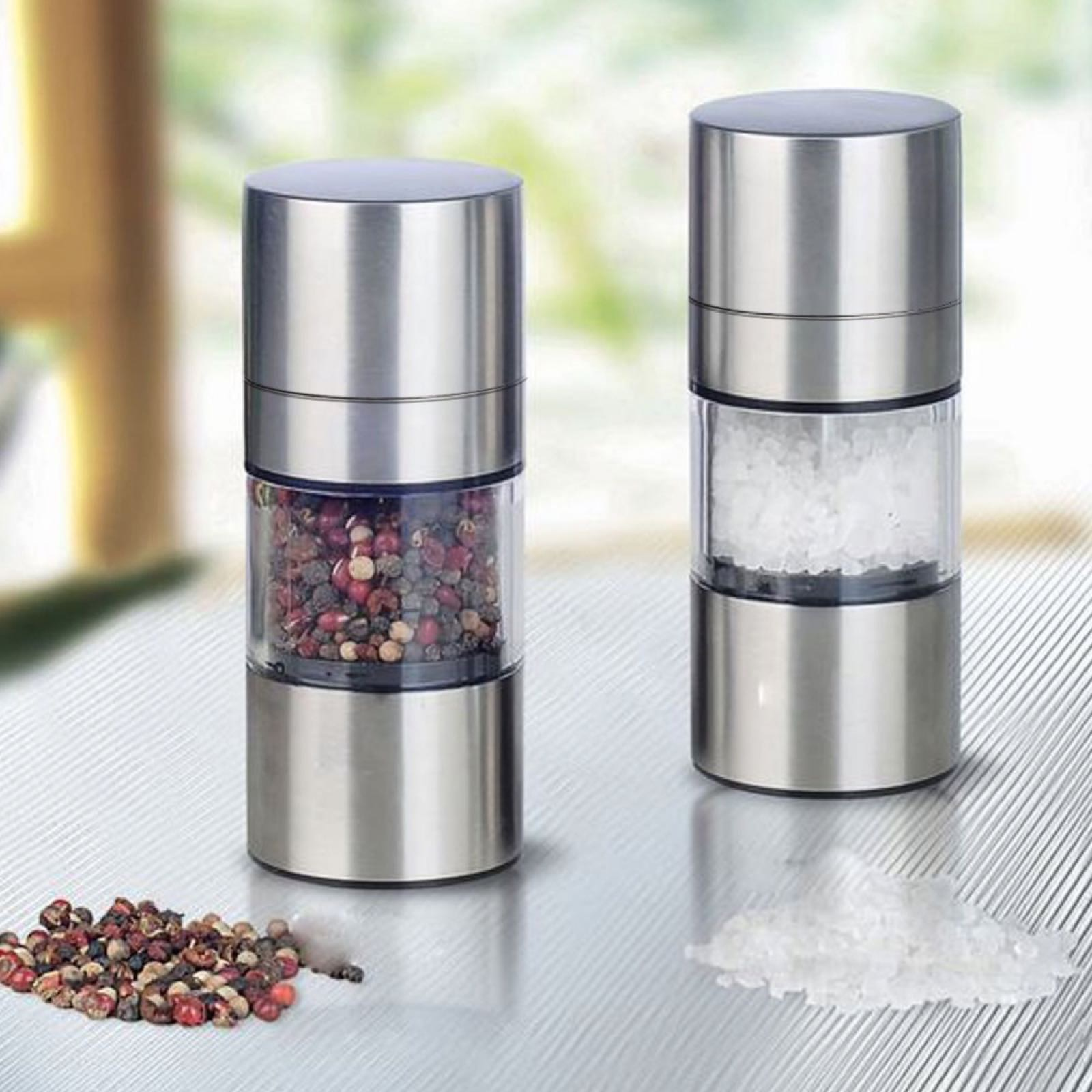 Nuvita Premium Stainless Steel Mini Salt and Pepper Mills Grinder - Se