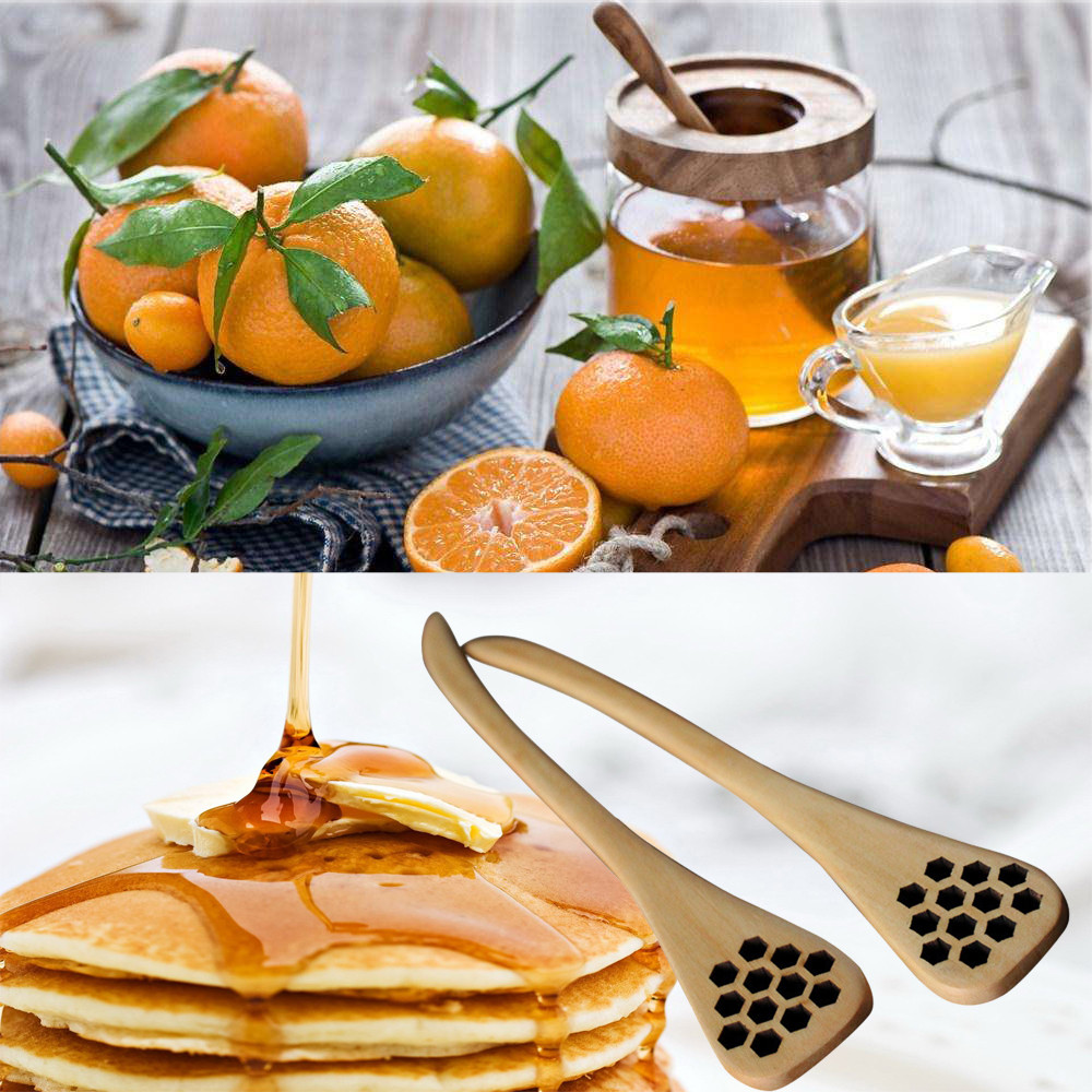 1pc Bionic Natural Wood Honey Dipper Server Mixing Stick Spoon Healthy