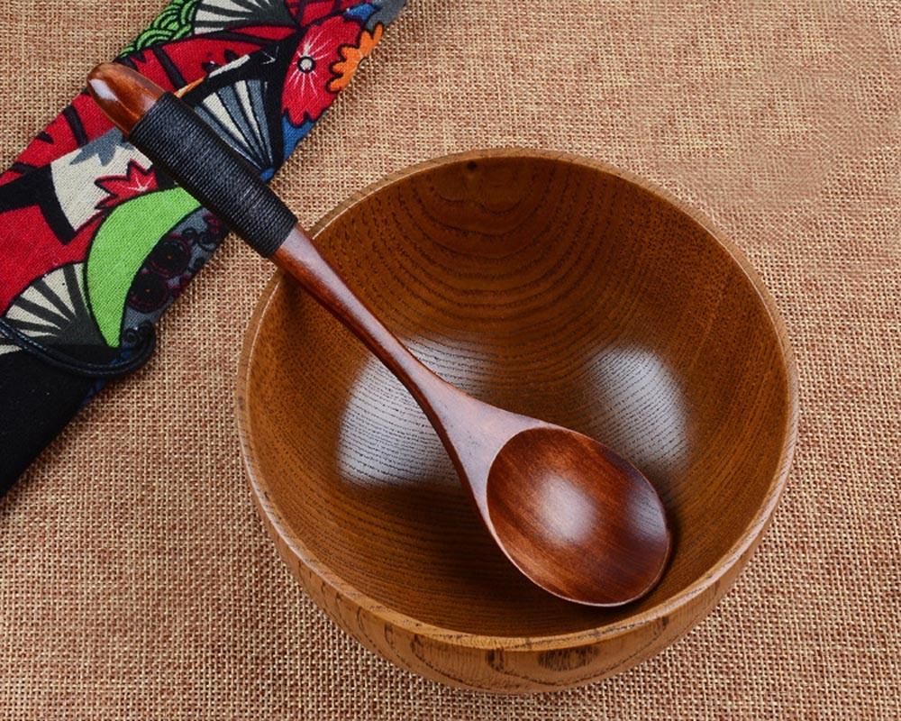 Wooden Spoon Bamboo Kitchen Cooking Utensil Tool Soup Teaspoon Caterin
