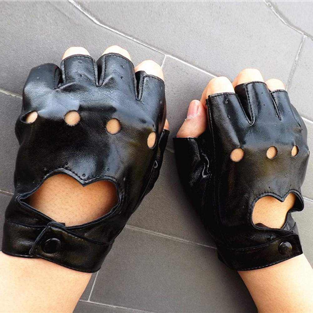 Women Driving Sport Fingerless imitation leather Gloves Mitten
