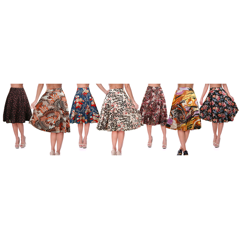 3-Pack Mystery Deal  Women s Casual Elastic Waist Floral Printed Skirt