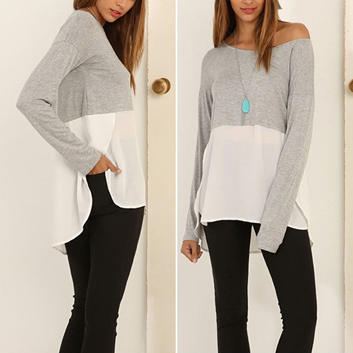 Women s Loose Long Sleeve Chiffon T-shirt