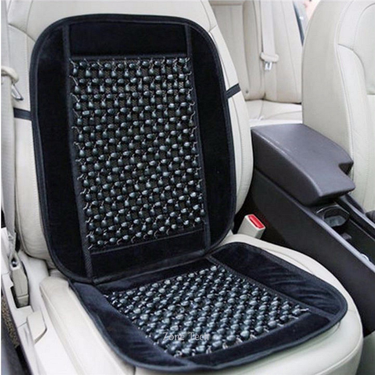 Zone Tech Bamboo Wooden Beaded Seat Massage Cushion Office Chair Car C