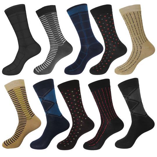 10-Pack  Men s Beverly Hills Polo Textured Premium Knit Dress Socks