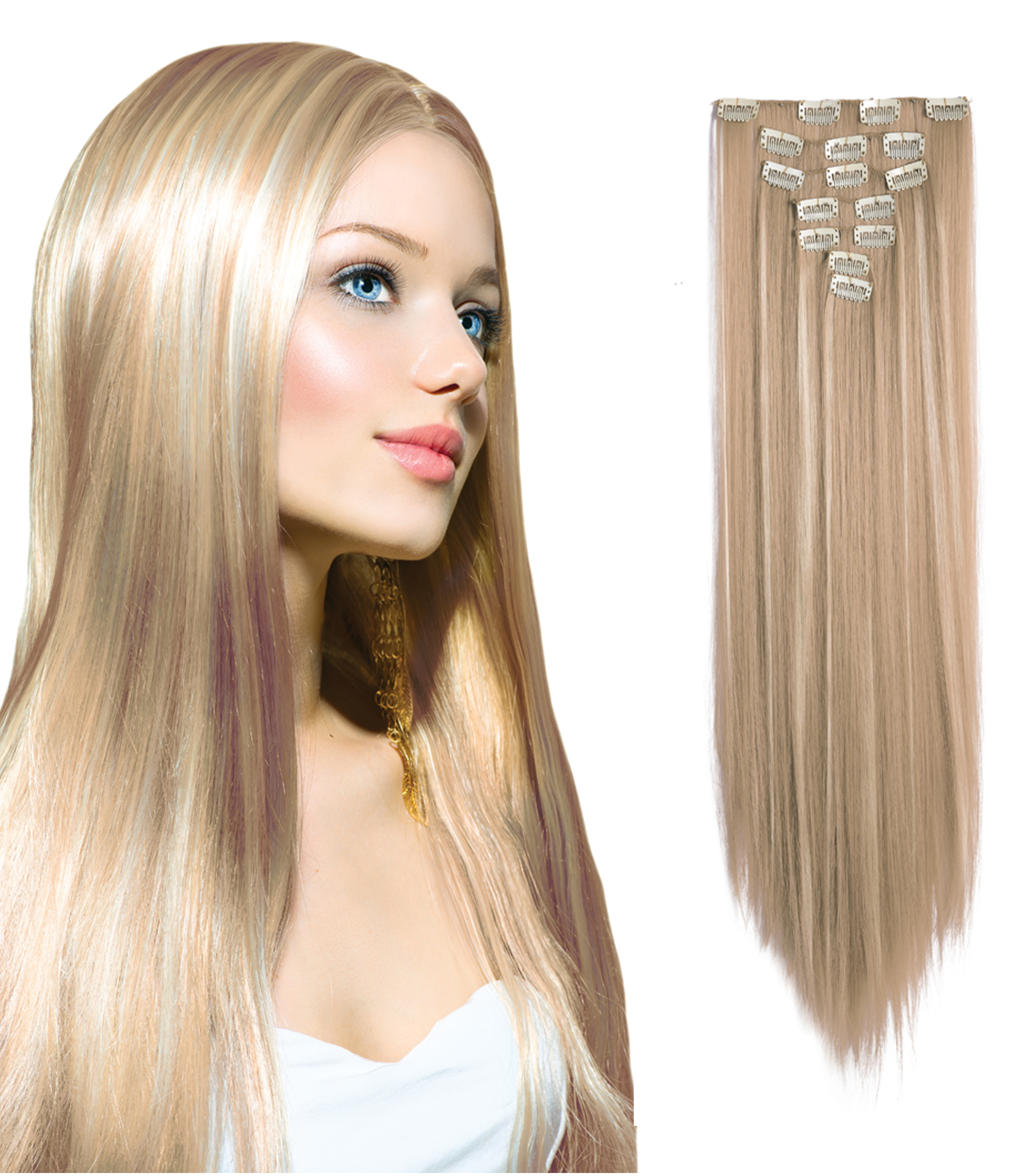 7 Piece 24 Full Head Clip In Hair Extensions Bellechic