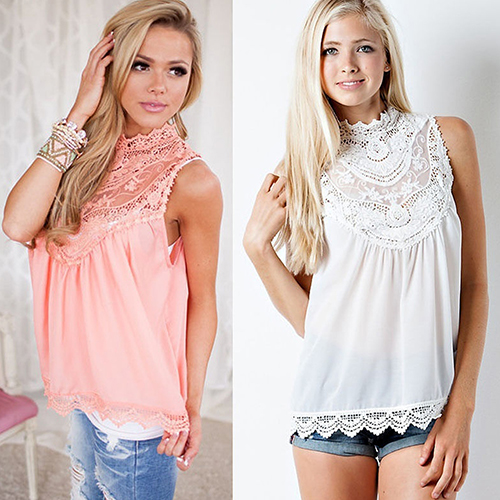 Women s Lace Patchwork Sleeveless Shirt