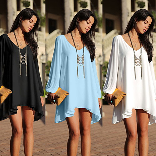 Women s V-neck Loose Chiffon Mini Dress