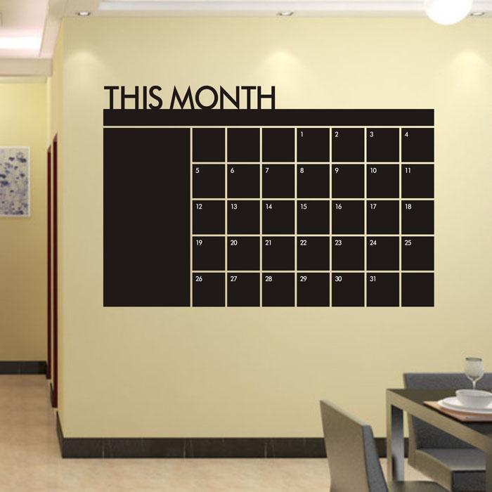 60x92 Month Plan Calendar Chalkboard MEMO Blackboard Vinyl Wall Sticke