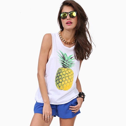 Loose Pineapple Print Tank Top