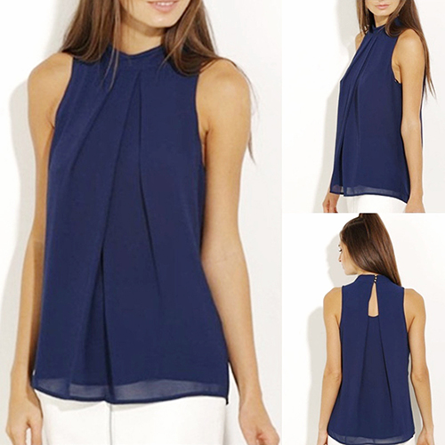 Women s Sleeveless Halter Chiffon Blouse