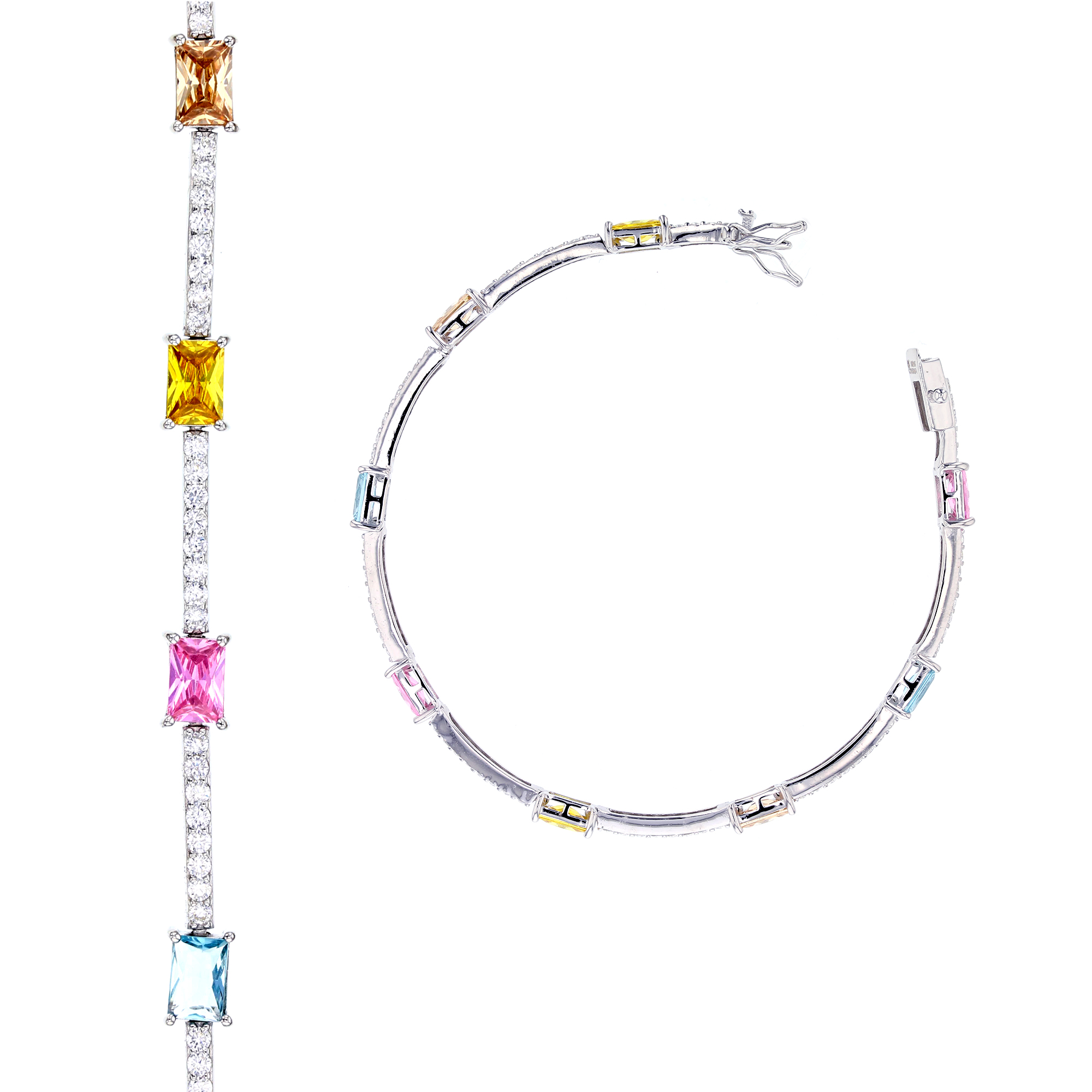 Sterling Silver Multicolor CZ Tennis Bracelet 8562906