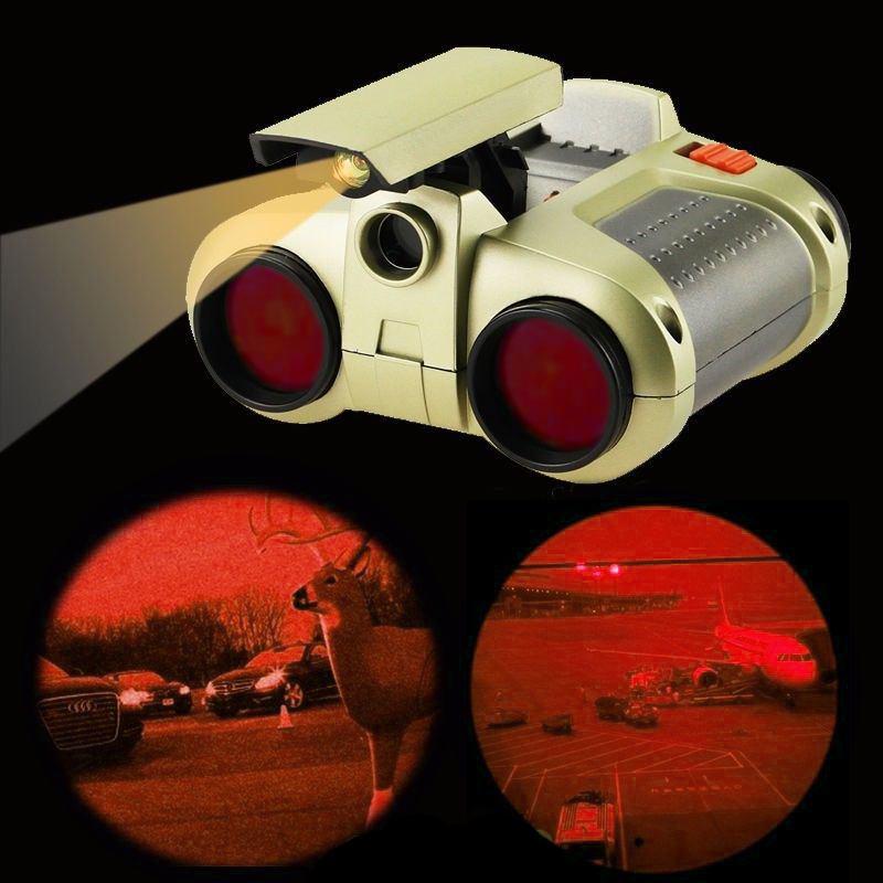 Binoculars Telescope 4x30mm Night Scope w  Pop-Up Light Night Vision