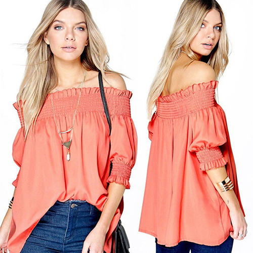 Women s Off Shoulder Short Sleeve T-shirt