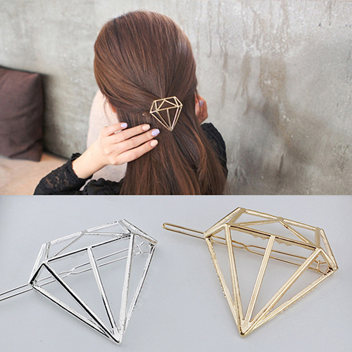 Women Chic Geometric Hollow Diamond Shape Hairpin