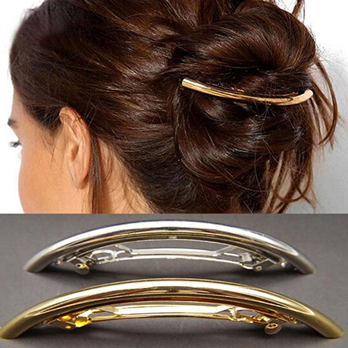 Women Meta Tube Shape Barrette Hair Clips