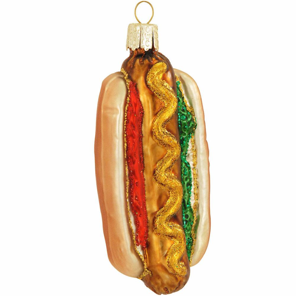 4 Inch Hot Dog Glass Ornament Xmas Funny Food Holiday Gift Christmas Tree