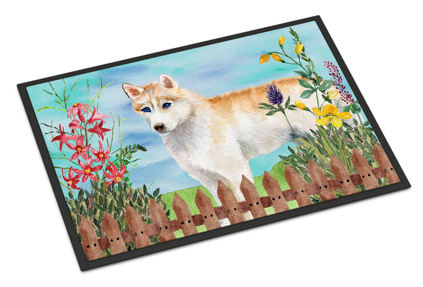 Siberian Husky Spring Indoor Or Outdoor Mat 18x27 Tanga