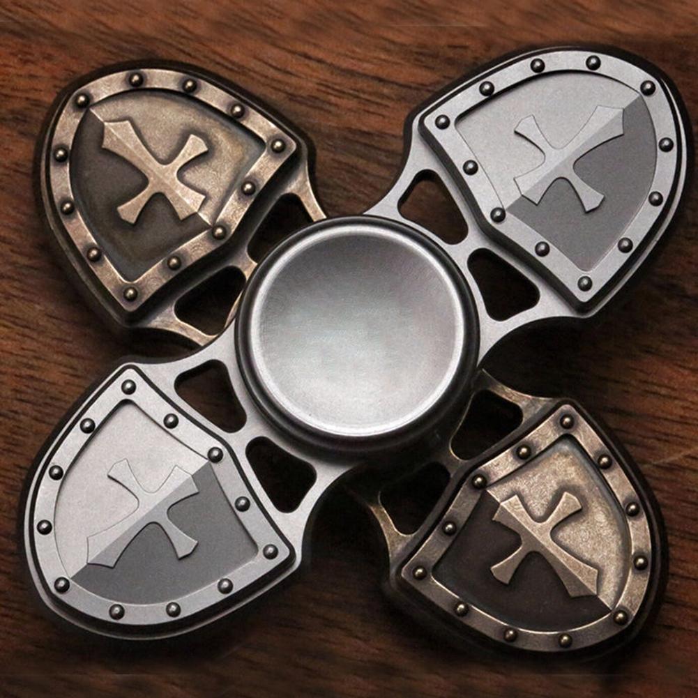 Retro Alloy Cross Shield Hand Spinner Finger Focus EDC Desk Toy Kids A