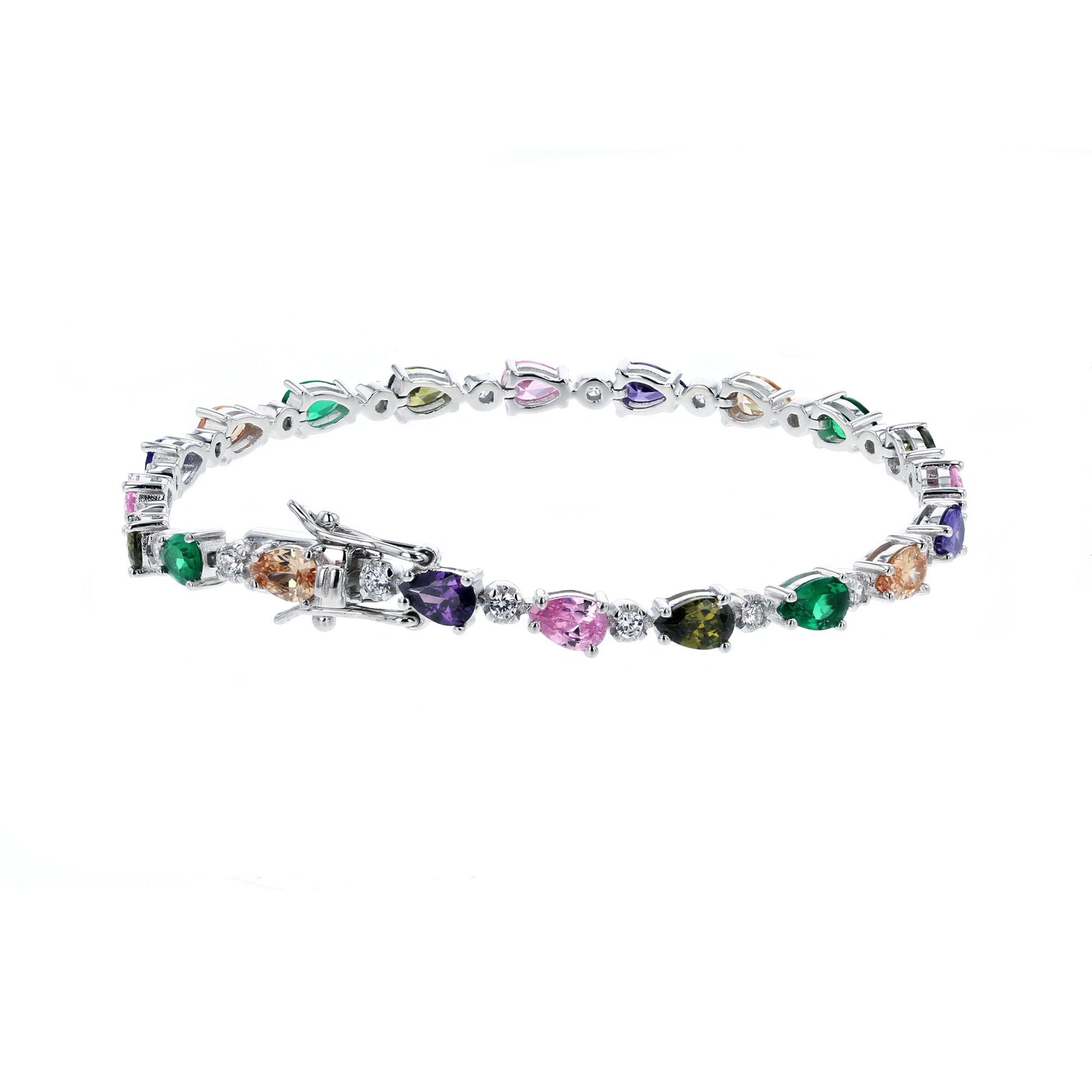 Sterling Silver Multi-Color CZ Tennis Bracelet 5ea0c5f7b1be