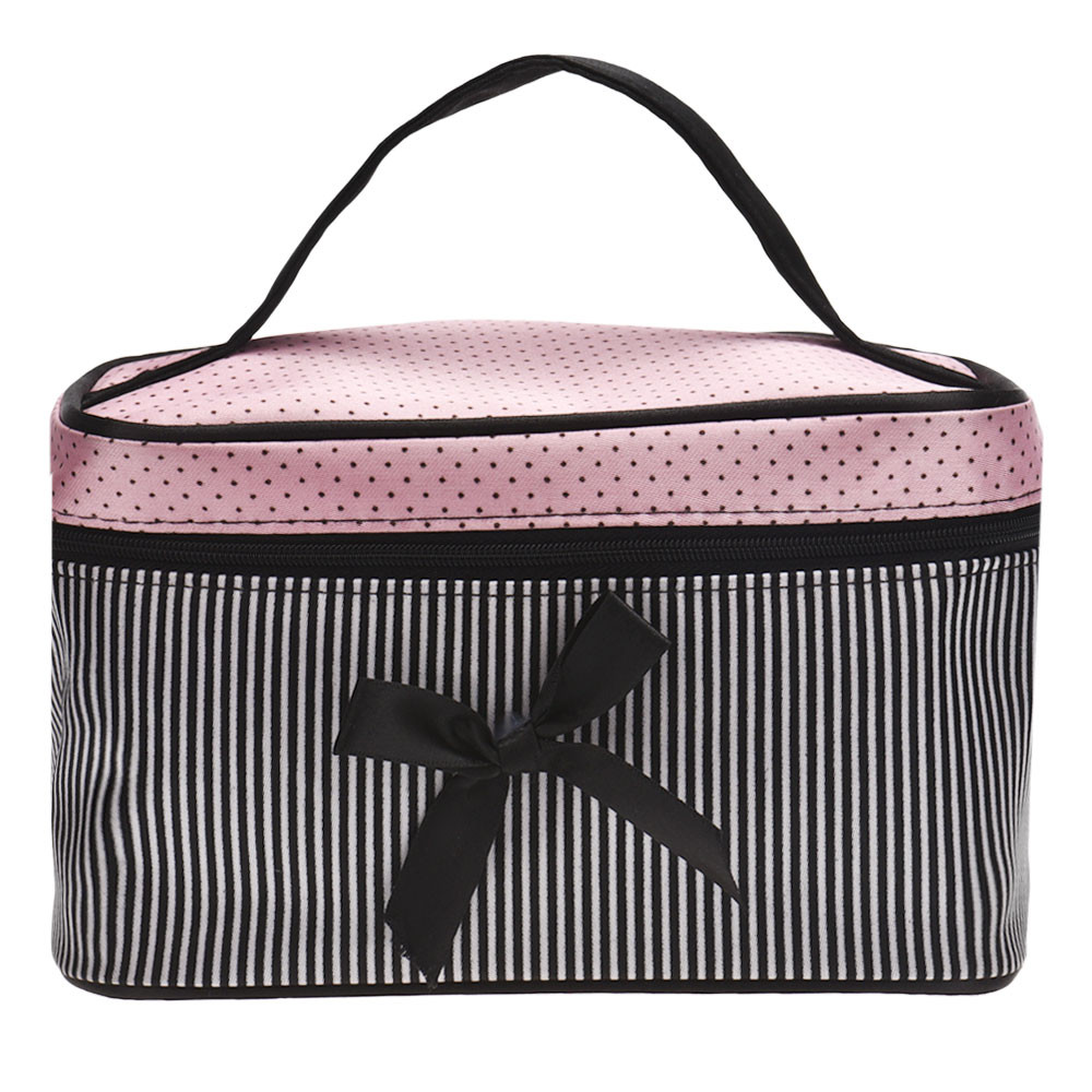Square Bow Stripe Cosmetic Bag
