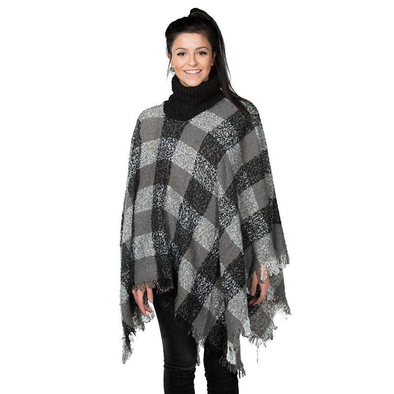 Women s Plaid Fringe Turtleneck Ponchos