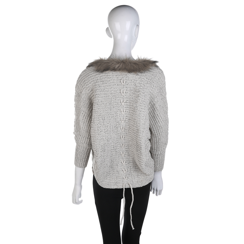 Women Coat Sweater Knit Fur Collar Thicken Shawl Batwing Sleeve Cardig 4683585