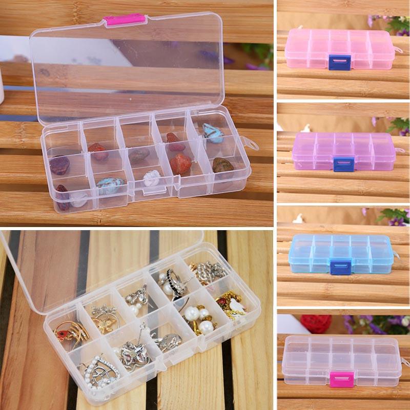 10-Compartment Craft Parts Storage Box - 4 Colors